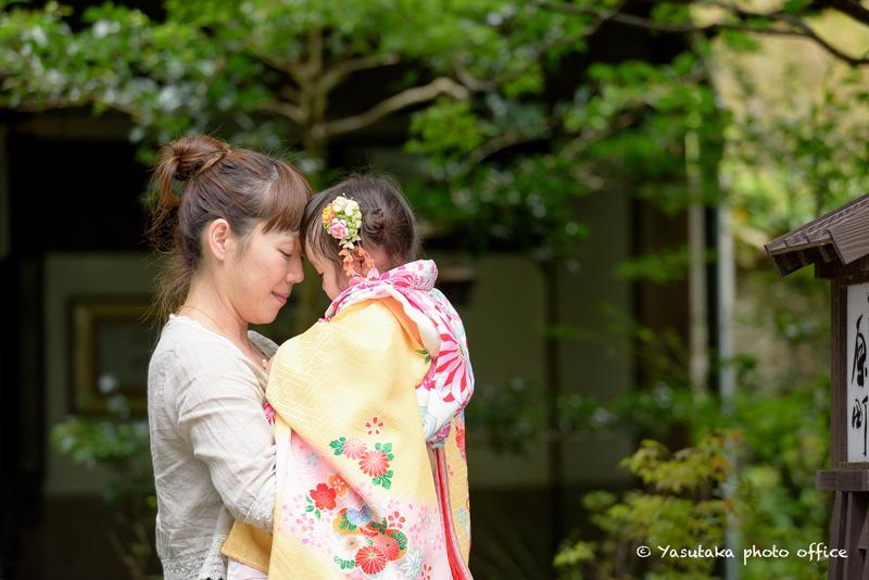唐津街道での着物姿3姉妹